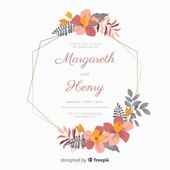 平らな花のフレームの結婚式の招待状