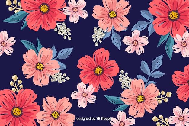 花の背景手描きのデザイン