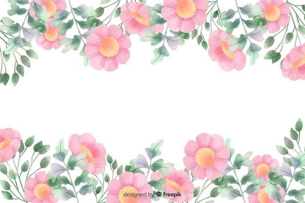 ピンクの花フレーム水彩デザインの背景