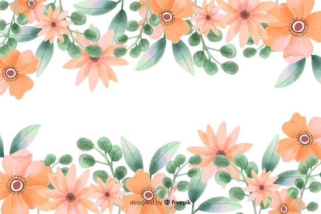 オレンジ色の花のフレームの背景に水彩デザイン