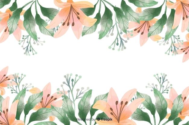 オレンジ色のユリの花フレームの水彩デザインの背景