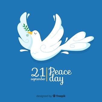 鳩とフラットなデザインの平和の日