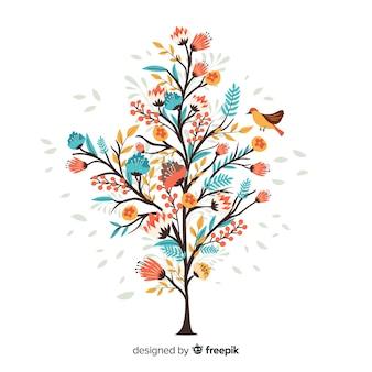 手描きの小さな鳥とカラフルな花の枝
