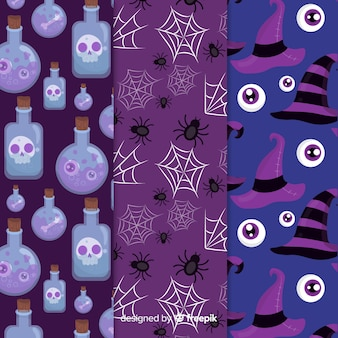 不気味なハロウィーンの夜のパターンコレクション
