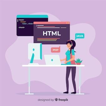 働くフラットデザインベクトル女性プログラマー