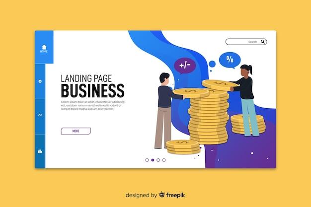 フラットなデザインのビジネスマーケティングのランディングページ