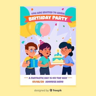 Нарисованный рукой шаблон приглашения дня рождения