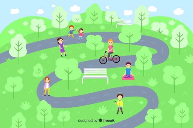 経路を持つ公園の人々