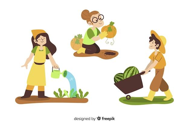 Плоский дизайн сельскохозяйственных рабочих символов уборки урожая