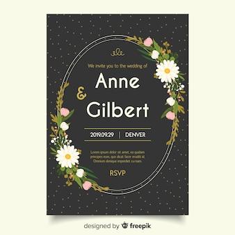 フラットなデザインテンプレートと黒の結婚式の招待状