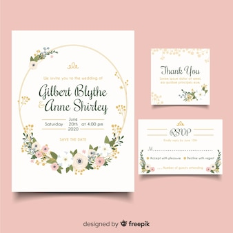 フラットなデザインのエレガントな結婚式の招待状