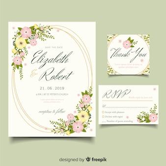フラットなデザインのエレガントな結婚式の招待状のテンプレート
