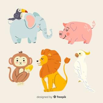 Симпатичный иллюстрированный набор животных