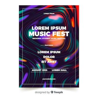 液体の効果を持つ音楽祭ポスターテンプレート
