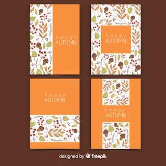 手描き秋のカードコレクション