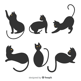 猫の手描きハロウィーンシルエット