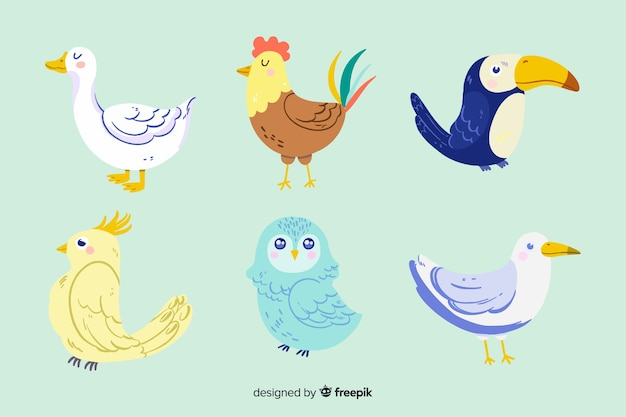 Набор различных милых иллюстрированных животных