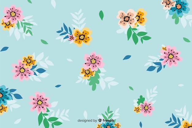 手描きの花のデザインと背景