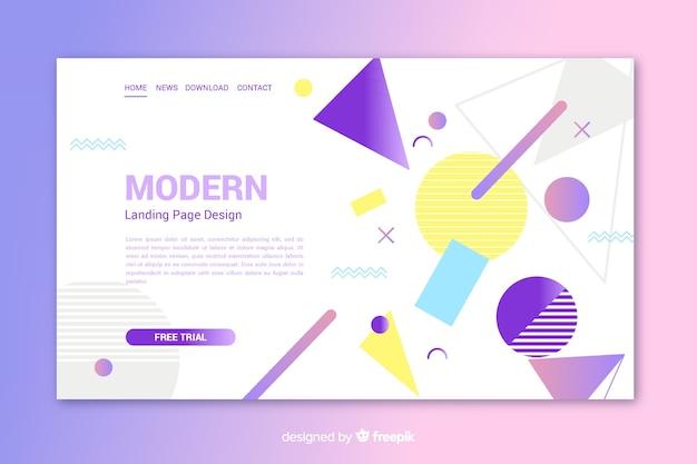 幾何学的形状を備えたモダンなランディングページ