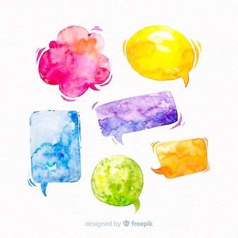 Яркие акварельные речевые пузыри микс