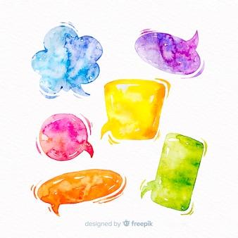 Яркая смесь акварельных речевых пузырьков