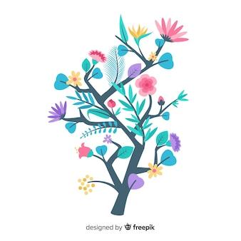 イラストのカラフルな花の枝