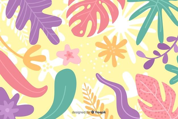 花の手描きと抽象的な背景