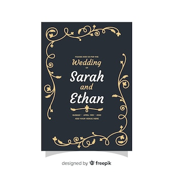 レトロなデザインの黒の結婚式の招待状のテンプレート