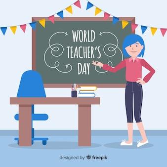 フラットデザインの世界教師の日