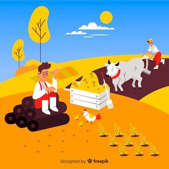 フラットなデザインの農業労働者のキャラクター屋外