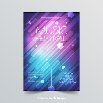 カラフルな幾何学的な音楽ポスターテンプレート
