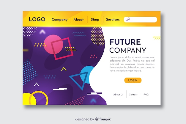 将来の会社の幾何学的図形のランディングページ