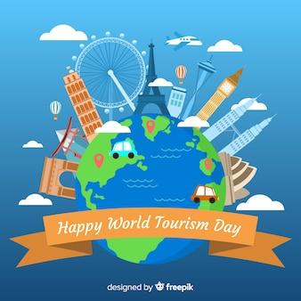 Плоский дизайн всемирный день туризма