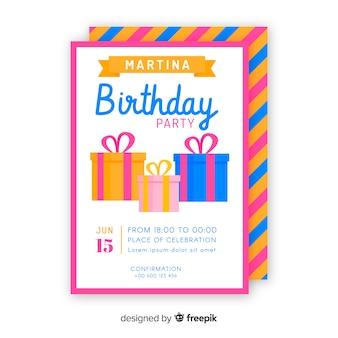Плоский шаблон приглашения дня рождения
