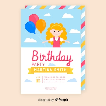 カラフルなフラット誕生日の招待状のテンプレート