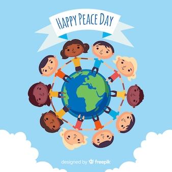 子供とフラットなデザインの平和の日