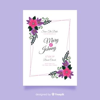 美しい結婚式の招待状のテンプレート
