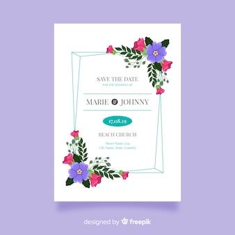 結婚式の招待状のテンプレートのフラットなデザイン