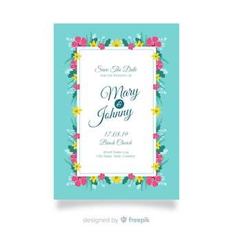 フラットなデザインで花の結婚式の招待状のテンプレート