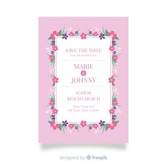 花のテンプレートデザインの結婚式の招待状