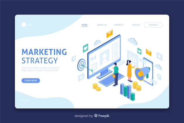 マーケティング戦略を含むランディングページ