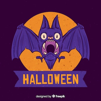 手描きハロウィーン怖い紫のバット