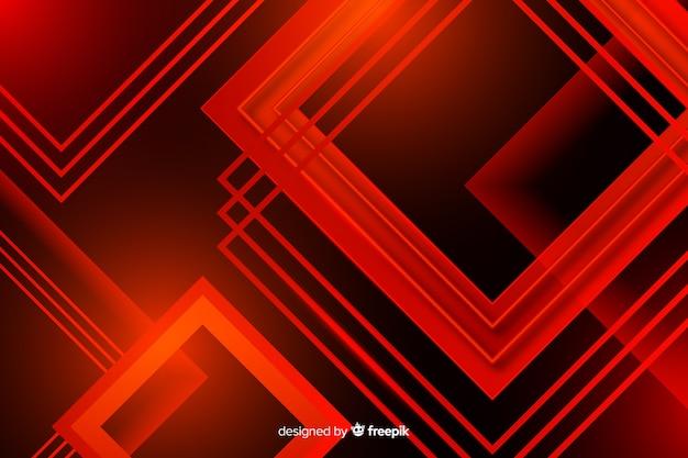 交差する多数の正方形の赤いライト