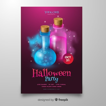 Яд в бутылках хэллоуин плакат шаблон
