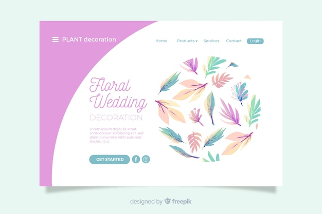 花の装飾品で結婚式のランディングページ