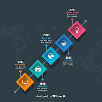Красочный современный график инфографики шаблон