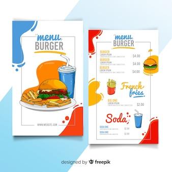 Шаблон меню ресторана бургер в руке обращается