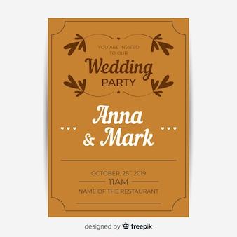 レトロなテンプレートデザインと茶色の結婚式の招待状