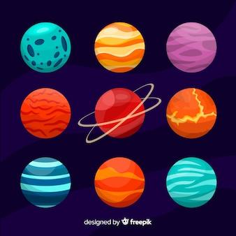 フラットなデザインの惑星コレクション