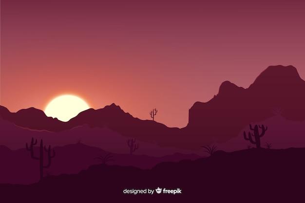 Закат пустынный пейзаж с градиентными цветами